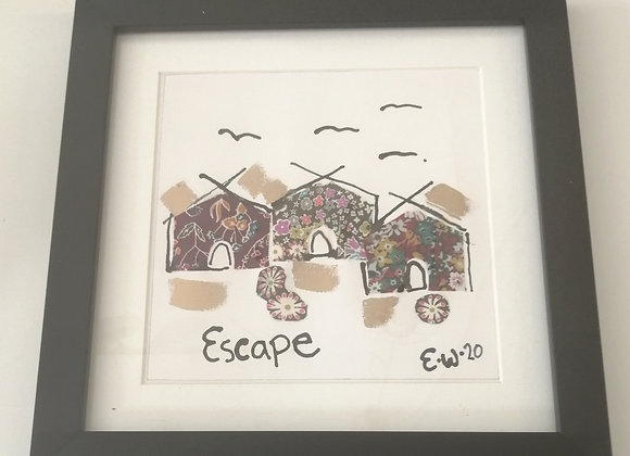 Escape hand drawn ink illustration with Liberty lawn fabric detail framed pictur