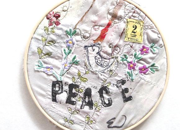 """Peace"" mixed media embroidery"