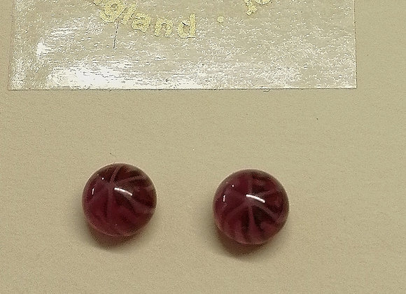 Rose coloured fused glass earrings with sterling silver back