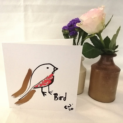 Bird hand drawn card.