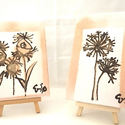 Set of two seed  head ink illustrations with copper spray paint details
