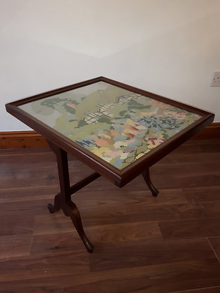 Unusual 1960's tapestry  coffee table and fire screen.