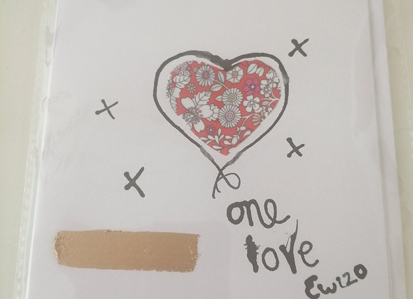 "Hand drawn card ""one love""  ink illustration with Liberty  lawn fabric detail"