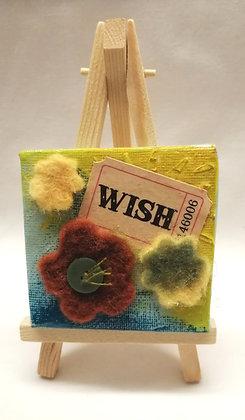 Wish textile fine art mini canvas