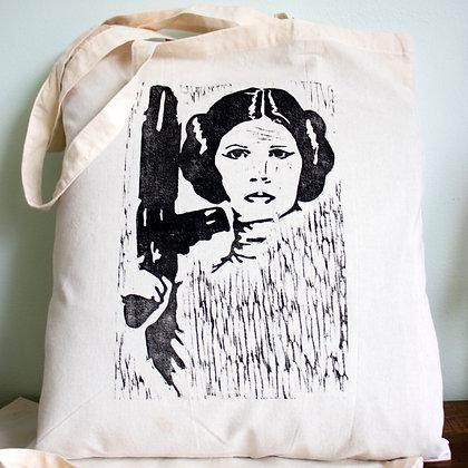 Princess Leia from Star wars hand printed lino cut tote bag