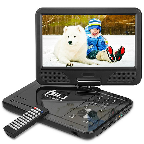 "DR. J Professional 12.5"" HD DVD Player with 5 Hours Rechargeable Battery,"