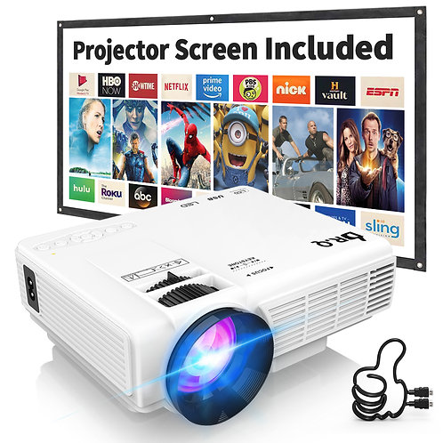 DR.Q HI-04 Projector with Projection Screen 1080P Full HD Supported, Video Proje