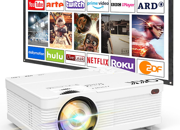 QKK Projector, AK-81 Mini Projector with Projection Screen, Video Projector.