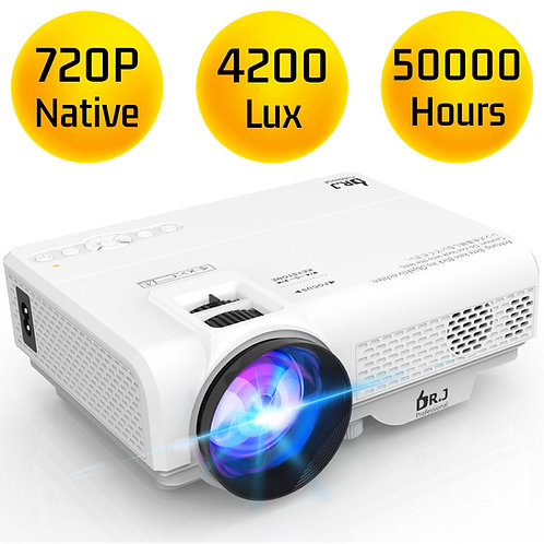 DR. J Professional Latest Upgrade 4200 LUX Portable Video Projector Native 720P
