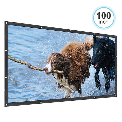 "Portable 100"" PVC Projector Screen for Home Teather Entertainment, Indoor & Out"