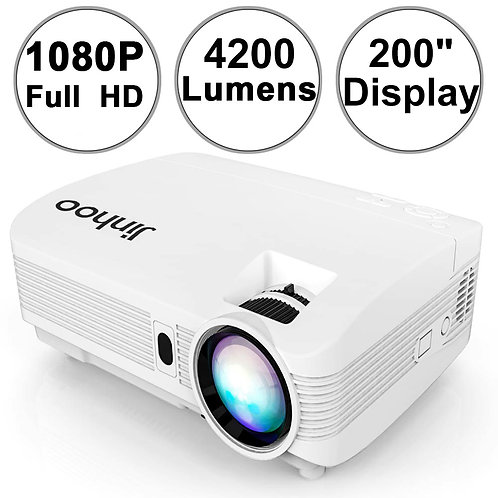 "[2019 Upgrade] Jinhoo 4200Lumens Projector FULL HD Support 200"" Display Compatib"
