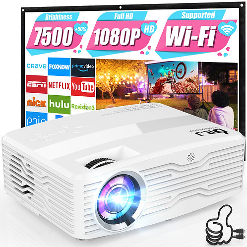 DR. J Professional WiFi Projector 7500Lumens Portable Outdoor Projector