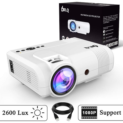 DR.Q L8 Projector, Upgraded 2600 Lux Video Projector, Mini Projector Supports 10