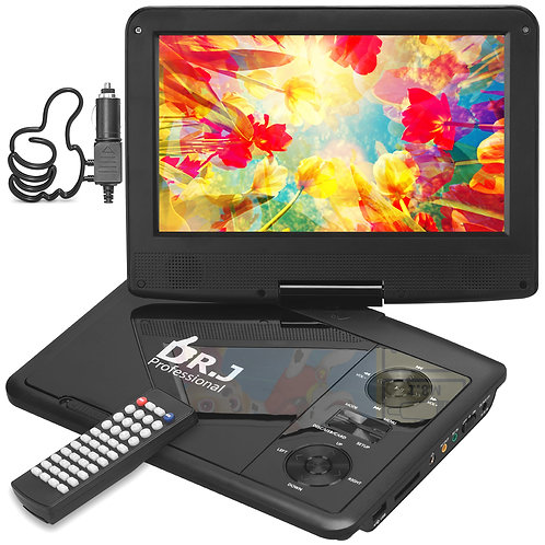 """DR. J 11.5"""" Portable DVD Player with HD 9.5"""" Swivel Screen, Rechargeable Battery"""