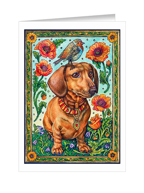 Dachshund with Poppies #039