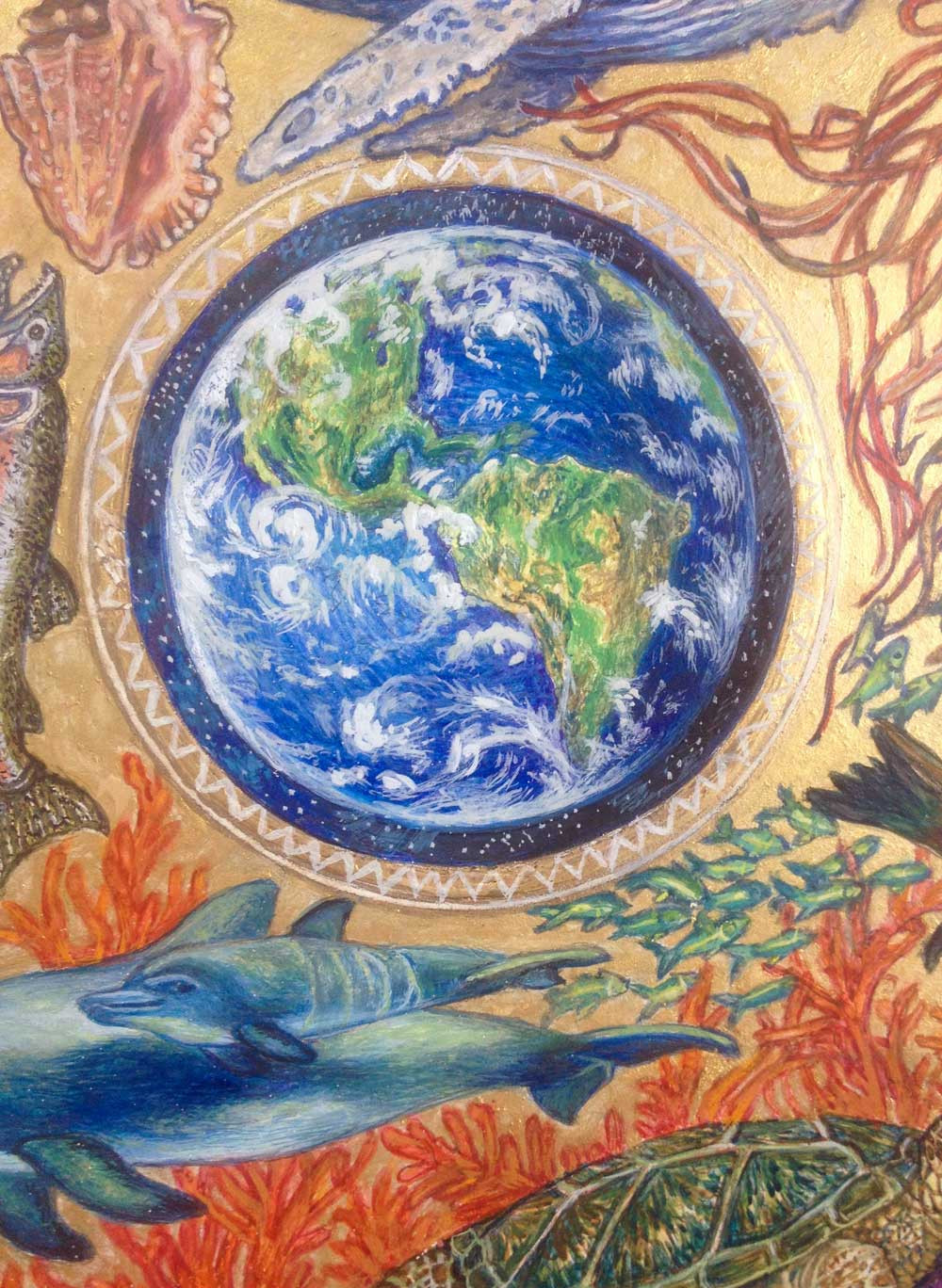 "Detail from Illuminated Mandala entitled, ""Peace On Earth,"" by Wildlife Illumination Artist Judith Haron."