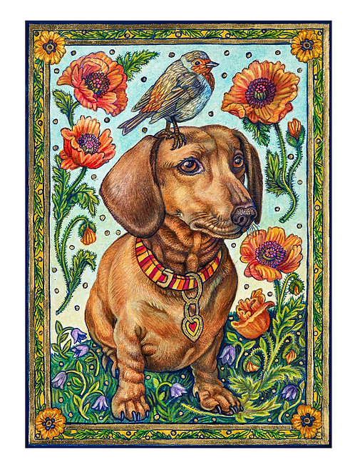 Dachshund with Poppies - Paper Giclee Print
