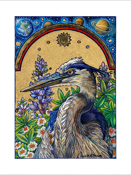Heron Galaxy - Paper Giclee Print