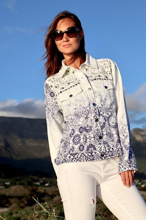 Boston Proper, White and Blue Patterned Jacket