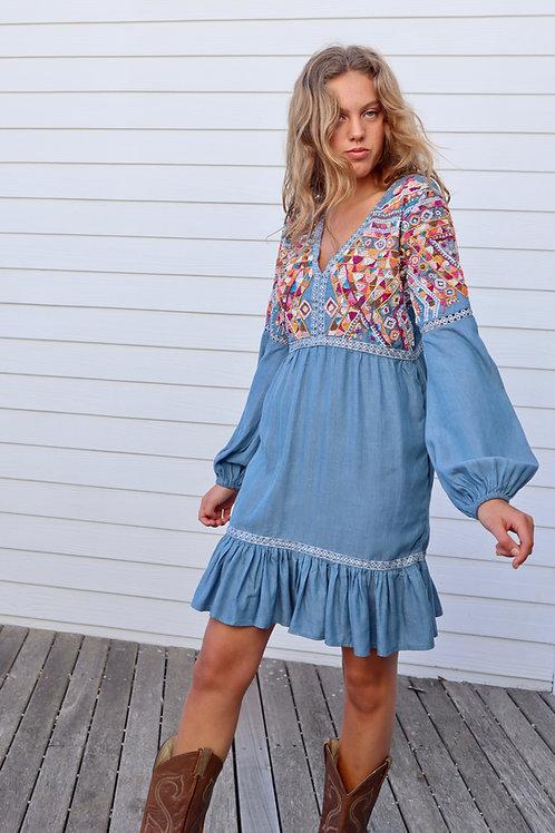 BEADED CHAMBRAY DRESS