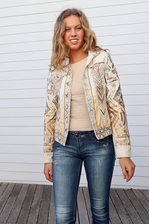 EMBELLISHED CREAM DENIM JACKET