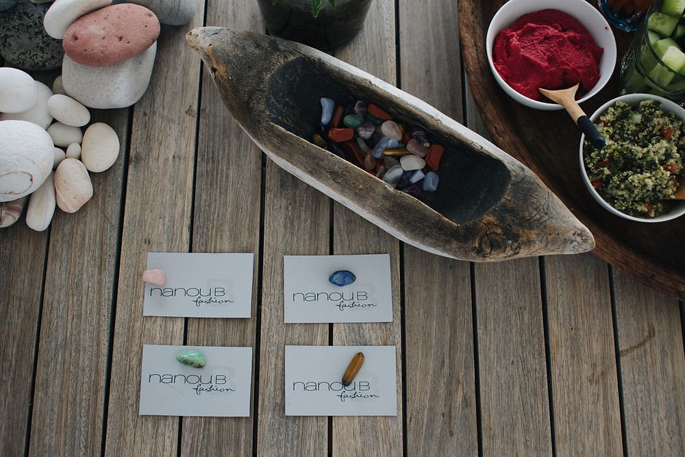 We received gem stones that came along with personalised cards that gave meaning to the stones healing energies as well as positive affirmations.