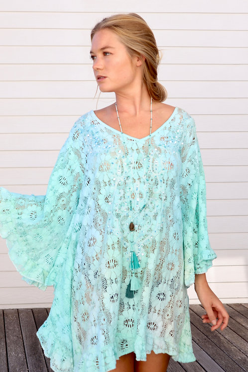 Colourful Turquoise Poncho