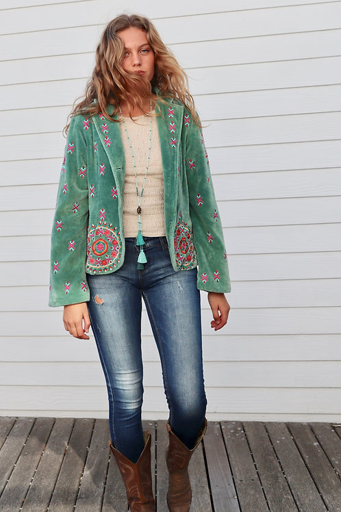 EMBROIDERED GREEN VELVET JACKET