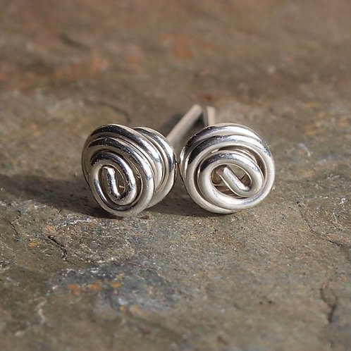 Silver Studs - Twist Knot Stud Earrings