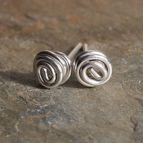 Silver Studs - Twist Knot Stud Earrings