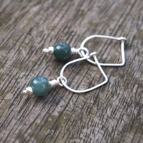 Green Moss Agate Earrings