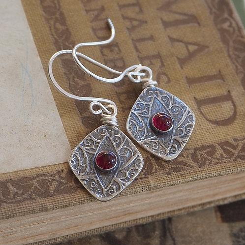 Oxidised Garnet Earrings