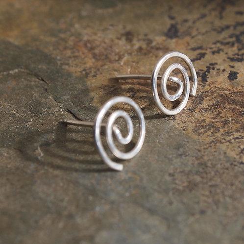Argentium Silver Studs - Spiral Stud Earrings