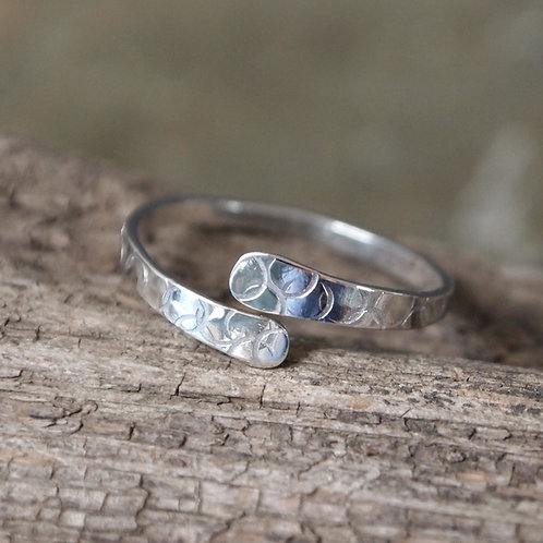 Forged silver rings with bubble texture