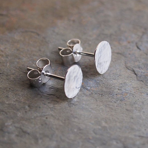 Silver Disc Studs with Hammered Texture