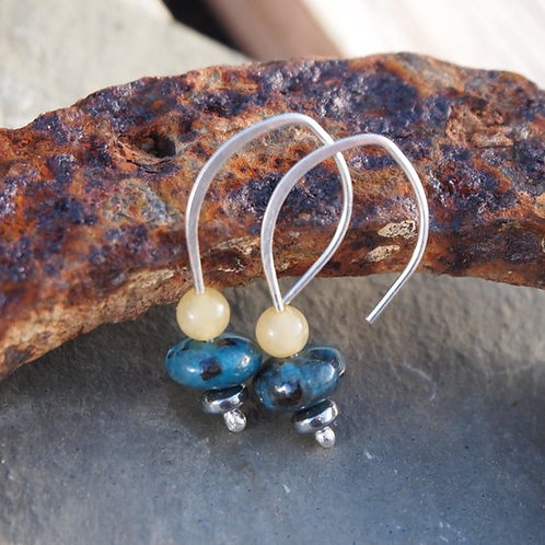 Silver Bead Earrings - Jasper & Jade