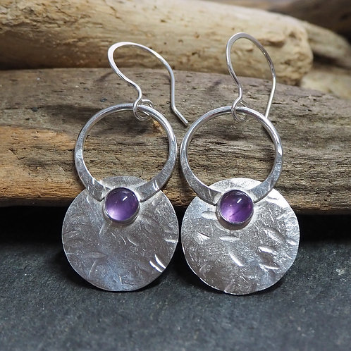 Large amethyst silver disc earrings