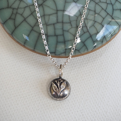 Solid Silver Leaf Pebble Necklace