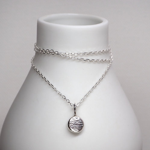 Recycled silver pebble pendant
