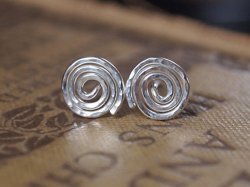 Argentium Silver Studs - Spiral Stud Earrings
