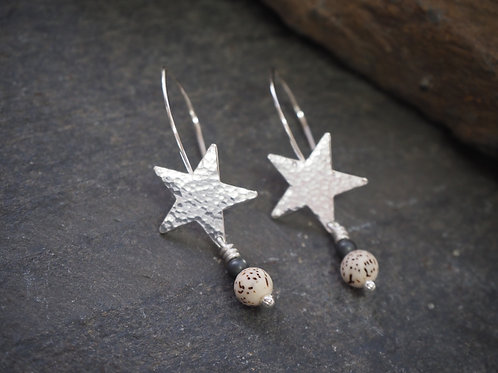 Silver Star & Lotus Bead Earrings