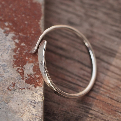 Forged silver rings with dimple texture