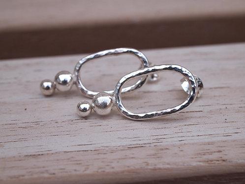 Silver Stud Earrings, Hammered Pebble Drops