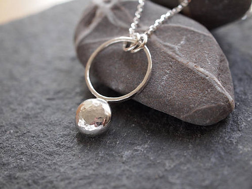 Hammered Silver Pebble Pendant, Eco Silver Pebble