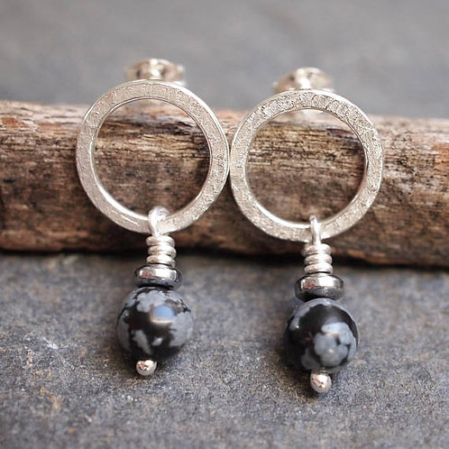 Snow Flake Obsidian Silver Hoop Stud Earrings