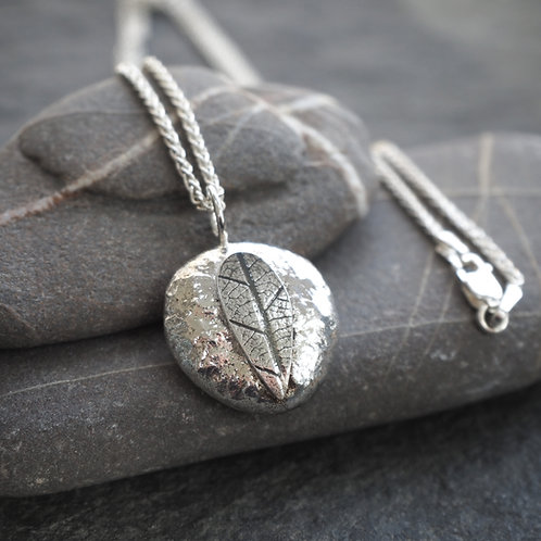 Recycled silver leaf pebble pendant