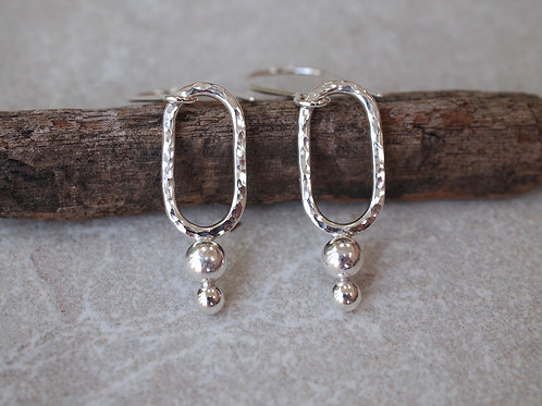 Handmade Silver Earrings, Hammered Pebble Drops