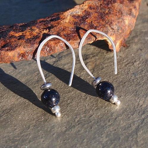 Silver Bead Earrings - Blue Goldstone