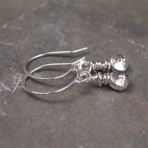 Silver Pebble Dangle Earrings