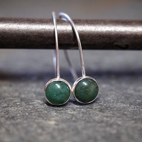 Green Moss Agate Drop Earrings